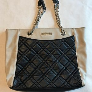 Kenneth Cole 25932 taupe hand bag with black front